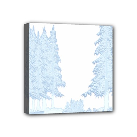 Winter Snow Trees Forest Mini Canvas 4  X 4  by Nexatart