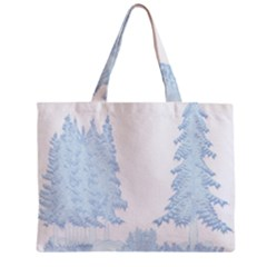 Winter Snow Trees Forest Zipper Mini Tote Bag by Nexatart