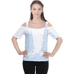 Winter Snow Trees Forest Women s Cutout Shoulder Tee
