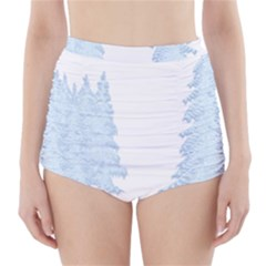 Winter Snow Trees Forest High Waisted Bikini Bottoms