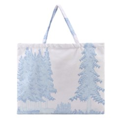 Winter Snow Trees Forest Zipper Large Tote Bag by Nexatart