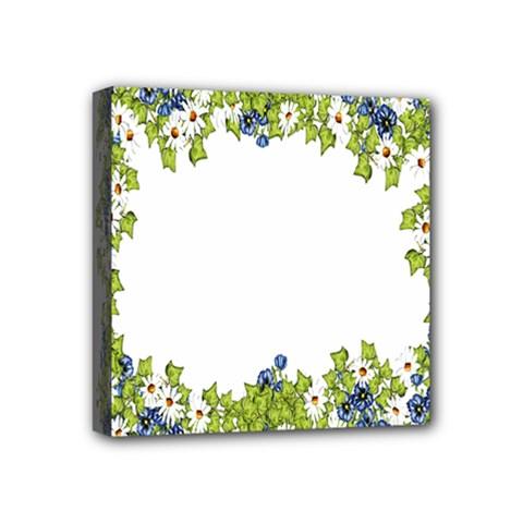 Birthday Card Flowers Daisies Ivy Mini Canvas 4  X 4  by Nexatart