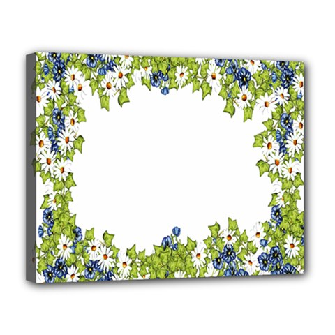 Birthday Card Flowers Daisies Ivy Canvas 14  X 11  by Nexatart