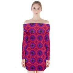 Retro Abstract Boho Unique Long Sleeve Off Shoulder Dress