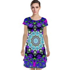 Graphic Isolated Mandela Colorful Cap Sleeve Nightdress