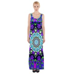 Graphic Isolated Mandela Colorful Maxi Thigh Split Dress