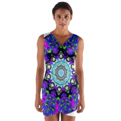 Graphic Isolated Mandela Colorful Wrap Front Bodycon Dress