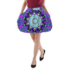 Graphic Isolated Mandela Colorful A Line Pocket Skirt