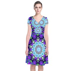 Graphic Isolated Mandela Colorful Short Sleeve Front Wrap Dress