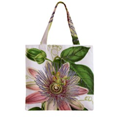 Passion Flower Flower Plant Blossom Zipper Grocery Tote Bag by Nexatart