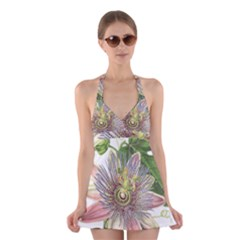 Passion Flower Flower Plant Blossom Halter Swimsuit Dress