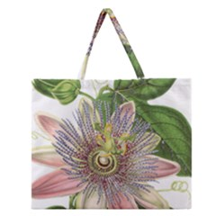 Passion Flower Flower Plant Blossom Zipper Large Tote Bag by Nexatart