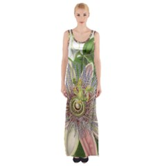 Passion Flower Flower Plant Blossom Maxi Thigh Split Dress