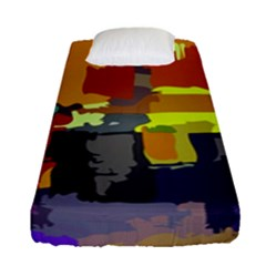 Abstract Vibrant Colour Fitted Sheet (single Size) by Nexatart