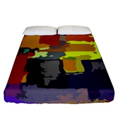 Abstract Vibrant Colour Fitted Sheet (queen Size) by Nexatart