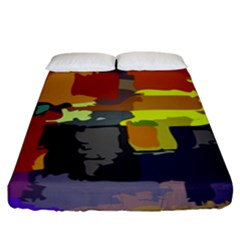 Abstract Vibrant Colour Fitted Sheet (king Size) by Nexatart
