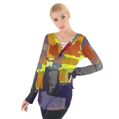 Abstract Vibrant Colour Women s Tie Up Tee