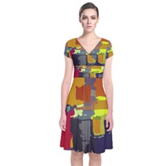Abstract Vibrant Colour Short Sleeve Front Wrap Dress