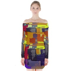 Abstract Vibrant Colour Long Sleeve Off Shoulder Dress