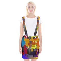 Abstract Vibrant Colour Braces Suspender Skirt