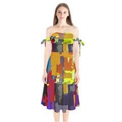 Abstract Vibrant Colour Shoulder Tie Bardot Midi Dress