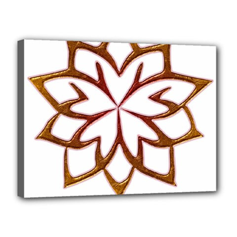 Abstract Shape Outline Floral Gold Canvas 16  X 12  by Nexatart