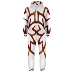 Abstract Shape Outline Floral Gold Hooded Jumpsuit (men)