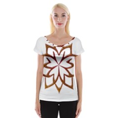 Abstract Shape Outline Floral Gold Women s Cap Sleeve Top