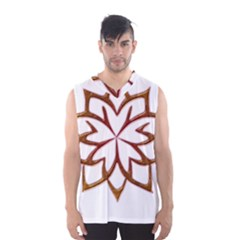 Abstract Shape Outline Floral Gold Men s Basketball Tank Top