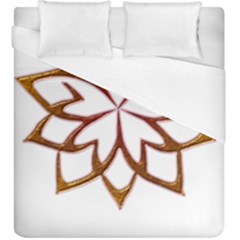 Abstract Shape Outline Floral Gold Duvet Cover (king Size)
