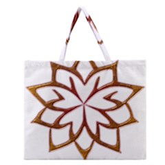 Abstract Shape Outline Floral Gold Zipper Large Tote Bag by Nexatart