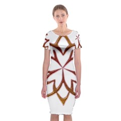 Abstract Shape Outline Floral Gold Classic Short Sleeve Midi Dress
