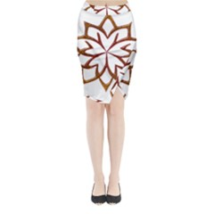 Abstract Shape Outline Floral Gold Midi Wrap Pencil Skirt