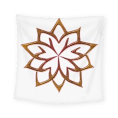 Abstract Shape Outline Floral Gold Square Tapestry (small)