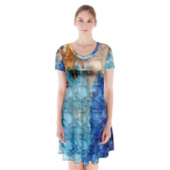 Painted texture                  Short Sleeve V-neck Flare Dress by LalyLauraFLM