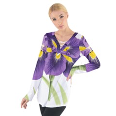 Lily Flower Plant Blossom Bloom Women s Tie Up Tee