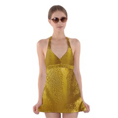 Beer Beverage Glass Yellow Cup Halter Swimsuit Dress