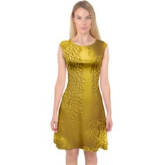 Beer Beverage Glass Yellow Cup Capsleeve Midi Dress