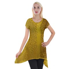 Beer Beverage Glass Yellow Cup Short Sleeve Side Drop Tunic by Nexatart