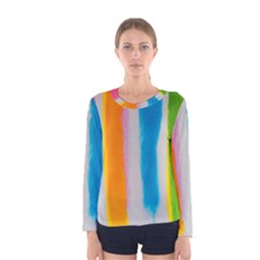 Watercolors Stripes             Women Long Sleeve T Shirt by LalyLauraFLM