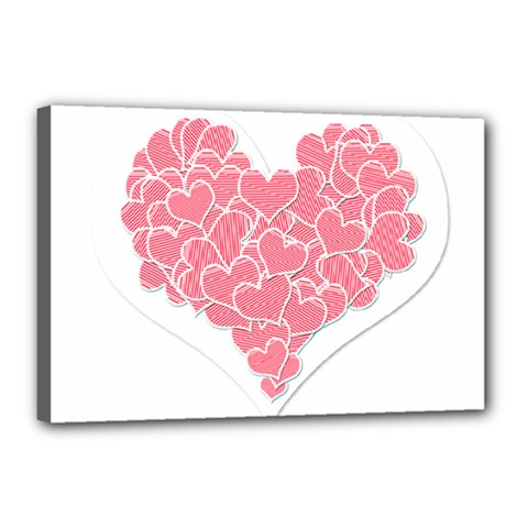 Heart Stripes Symbol Striped Canvas 18  X 12  by Nexatart