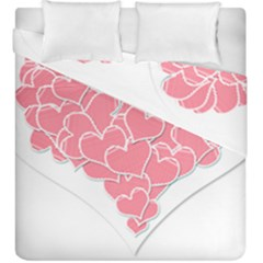 Heart Stripes Symbol Striped Duvet Cover Double Side (king Size)