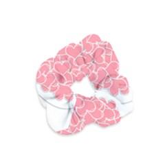 Heart Stripes Symbol Striped Velvet Scrunchie