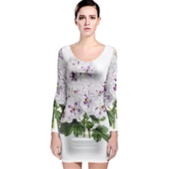 Flower Plant Blossom Bloom Vintage Long Sleeve Bodycon Dress