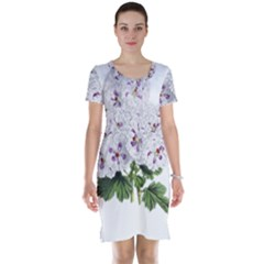 Flower Plant Blossom Bloom Vintage Short Sleeve Nightdress by Nexatart