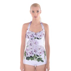 Flower Plant Blossom Bloom Vintage Boyleg Halter Swimsuit