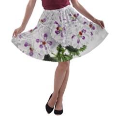 Flower Plant Blossom Bloom Vintage A Line Skater Skirt by Nexatart