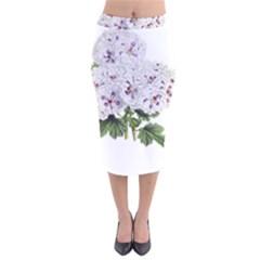 Flower Plant Blossom Bloom Vintage Velvet Midi Pencil Skirt