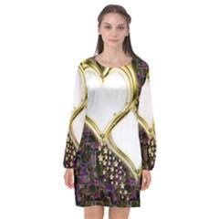 Lover Romantic Couple Apart Long Sleeve Chiffon Shift Dress