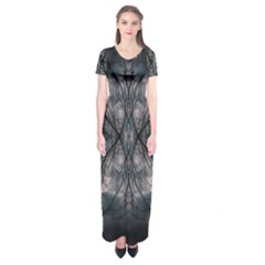 Storm Nature Clouds Landscape Tree Short Sleeve Maxi Dress